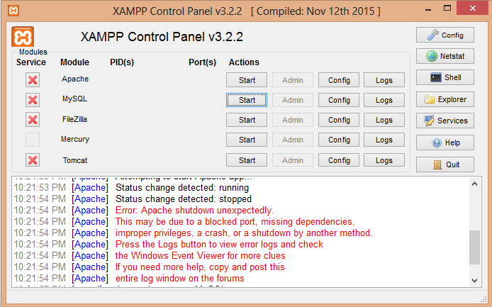 error-port-xampp